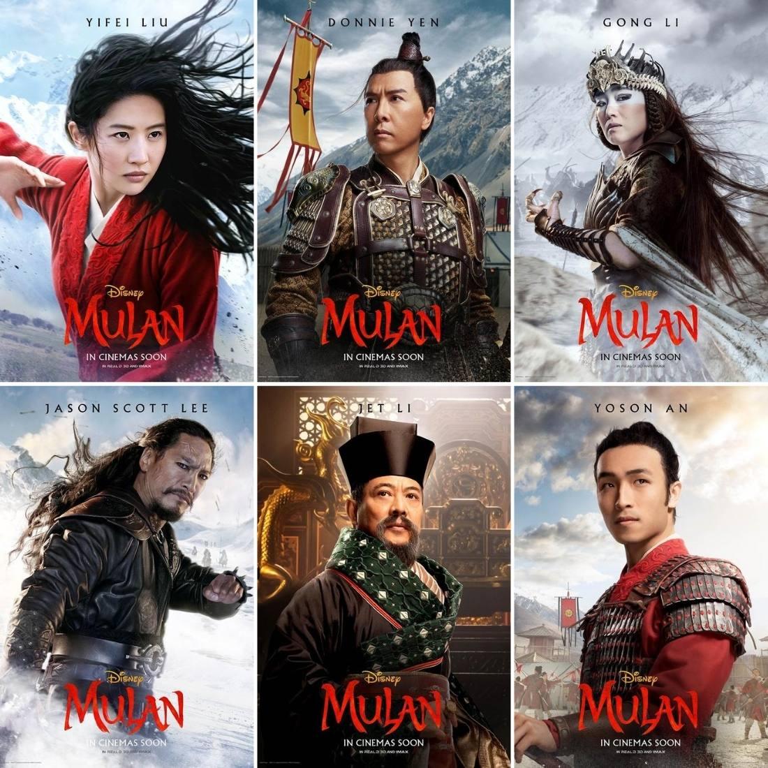 affiches de personnages mulan 2020